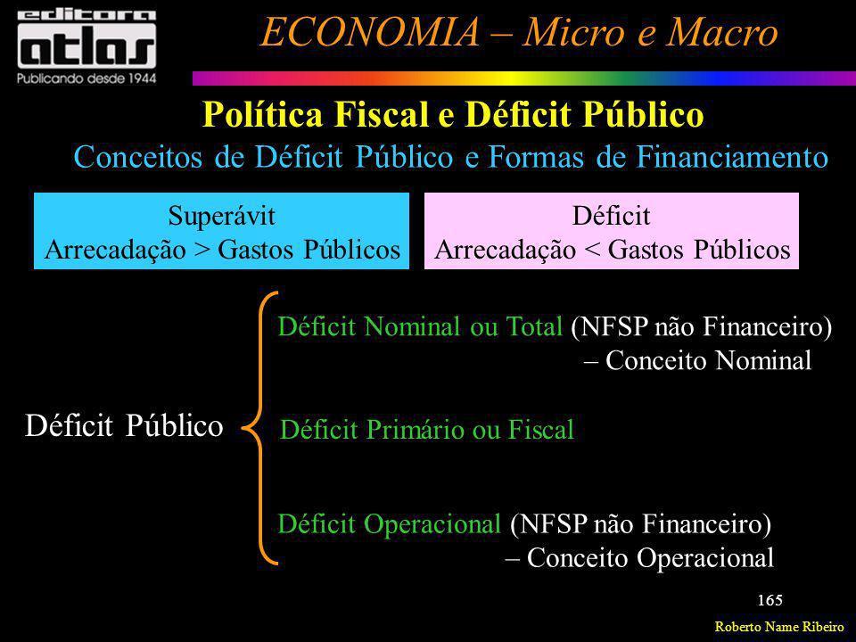 Roberto Name Ribeiro ECONOMIA – Micro e Macro 165 Política Fiscal e Déficit Público Conceitos de Déficit Público e Formas de Financiamento Superávit A