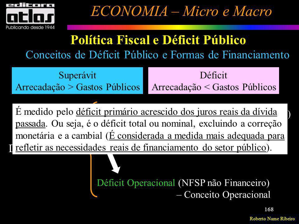 Roberto Name Ribeiro ECONOMIA – Micro e Macro 168 Política Fiscal e Déficit Público Superávit Arrecadação > Gastos Públicos Déficit Arrecadação < Gast