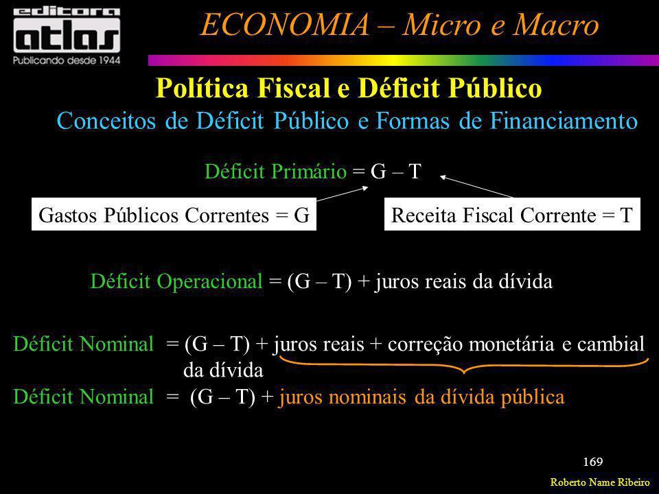 Roberto Name Ribeiro ECONOMIA – Micro e Macro 169 Política Fiscal e Déficit Público Déficit Primário = G – T Déficit Operacional = (G – T) + juros rea
