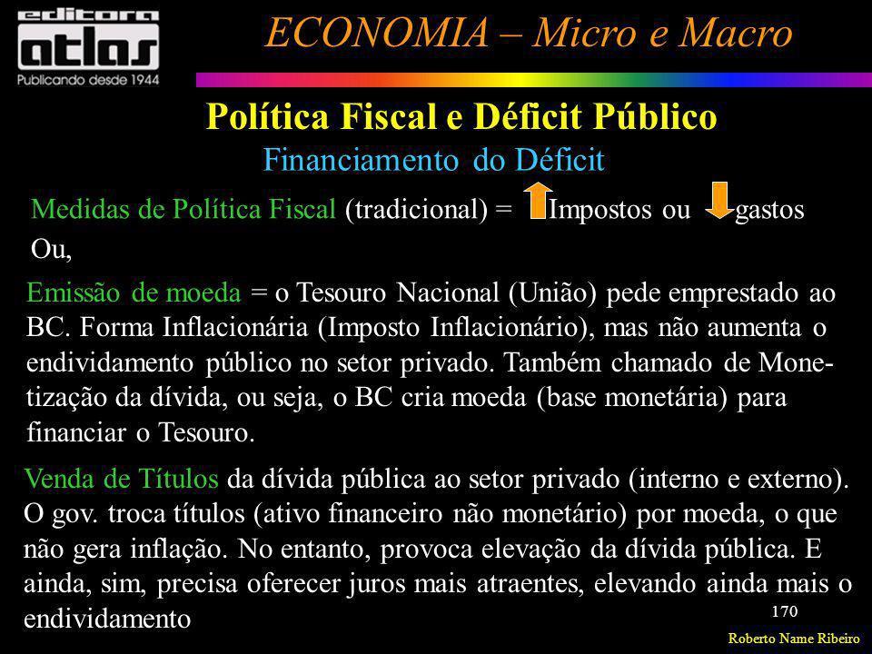 Roberto Name Ribeiro ECONOMIA – Micro e Macro 170 Política Fiscal e Déficit Público Financiamento do Déficit Medidas de Política Fiscal (tradicional)