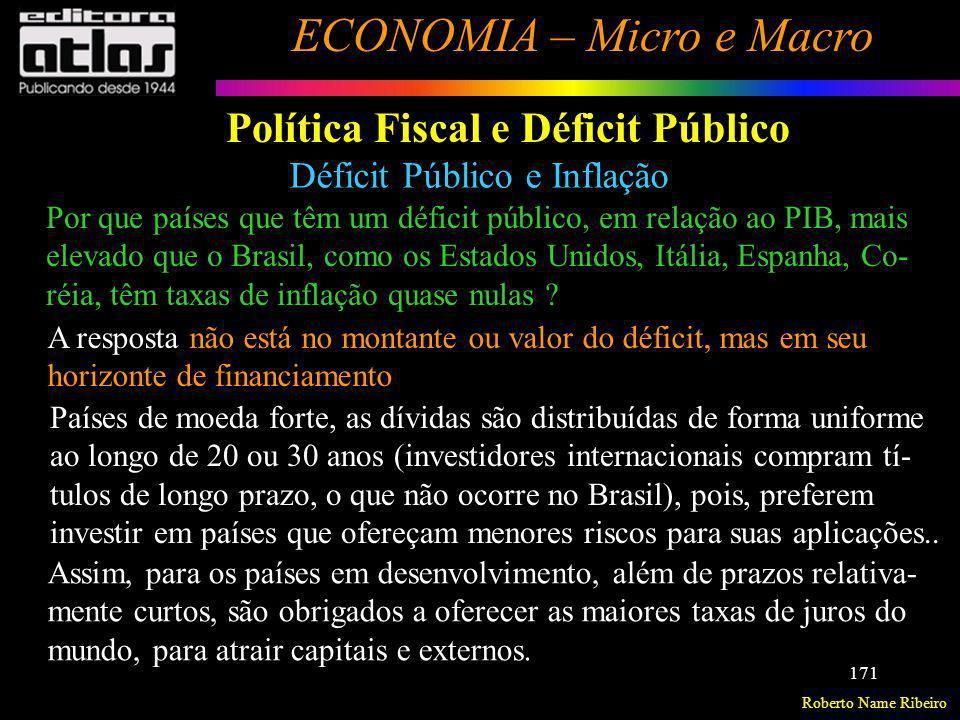 Roberto Name Ribeiro ECONOMIA – Micro e Macro 171 Política Fiscal e Déficit Público Déficit Público e Inflação Por que países que têm um déficit públi