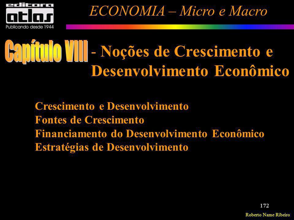 Roberto Name Ribeiro ECONOMIA – Micro e Macro 172 Crescimento e Desenvolvimento Fontes de Crescimento Financiamento do Desenvolvimento Econômico Estra