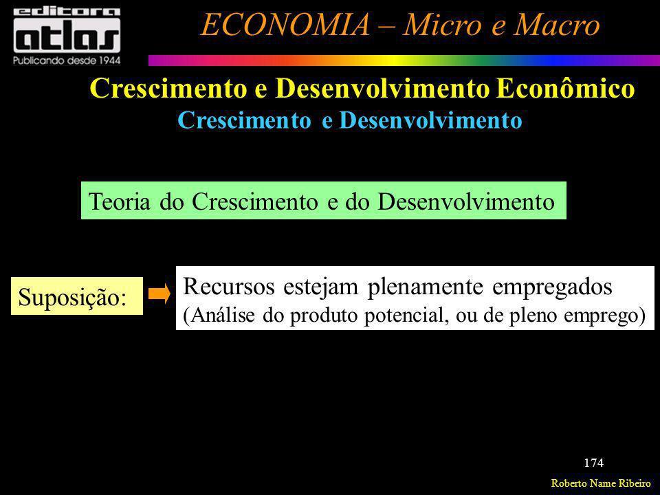 Roberto Name Ribeiro ECONOMIA – Micro e Macro 174 Crescimento e Desenvolvimento Econômico Crescimento e Desenvolvimento Teoria do Crescimento e do Des