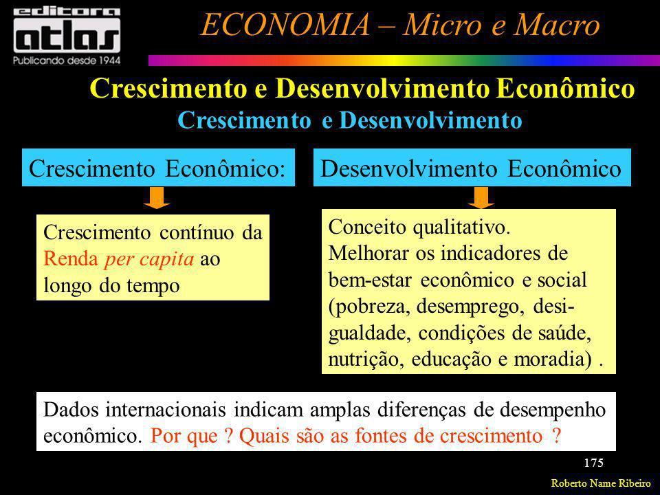 Roberto Name Ribeiro ECONOMIA – Micro e Macro 175 Crescimento e Desenvolvimento Econômico Crescimento e Desenvolvimento Crescimento Econômico: Crescim