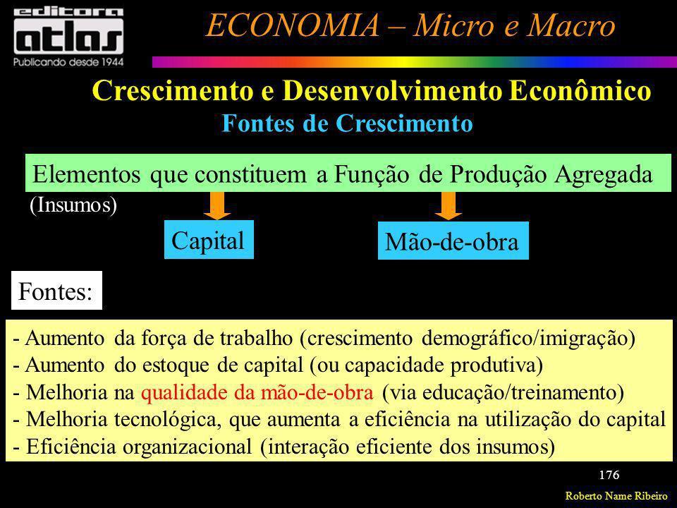 Roberto Name Ribeiro ECONOMIA – Micro e Macro 176 Crescimento e Desenvolvimento Econômico Fontes de Crescimento Elementos que constituem a Função de P