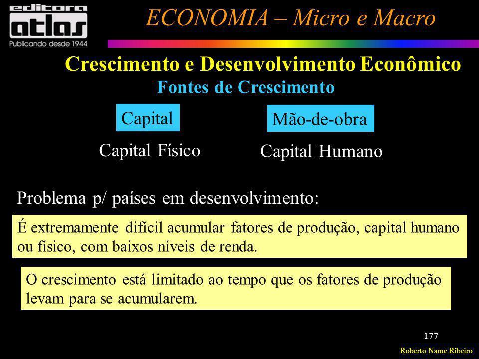 Roberto Name Ribeiro ECONOMIA – Micro e Macro 177 Crescimento e Desenvolvimento Econômico Fontes de Crescimento Capital Mão-de-obra Problema p/ países