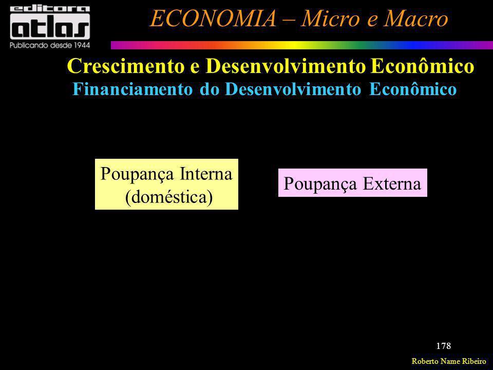 Roberto Name Ribeiro ECONOMIA – Micro e Macro 178 Crescimento e Desenvolvimento Econômico Financiamento do Desenvolvimento Econômico Poupança Interna
