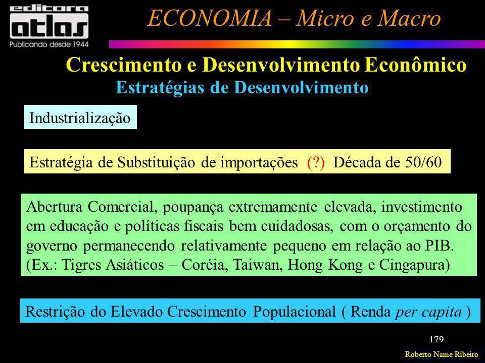Roberto Name Ribeiro ECONOMIA – Micro e Macro 179 Crescimento e Desenvolvimento Econômico Estratégias de Desenvolvimento Industrialização Estratégia d