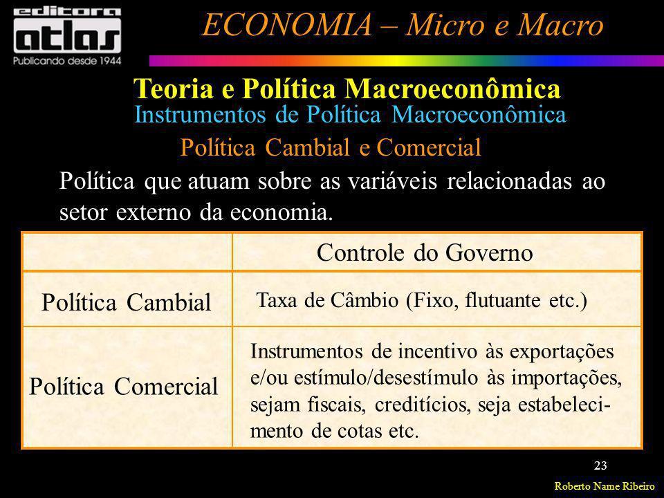 Roberto Name Ribeiro ECONOMIA – Micro e Macro 23 Política Cambial e Comercial Política que atuam sobre as variáveis relacionadas ao setor externo da e