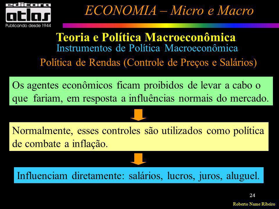 Roberto Name Ribeiro ECONOMIA – Micro e Macro 24 Política de Rendas (Controle de Preços e Salários) Os agentes econômicos ficam proibidos de levar a c