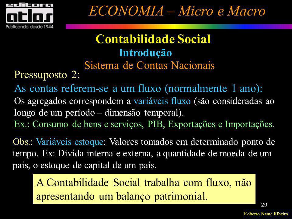 Roberto Name Ribeiro ECONOMIA – Micro e Macro 29 Contabilidade Social Introdução Sistema de Contas Nacionais Pressuposto 2: As contas referem-se a um