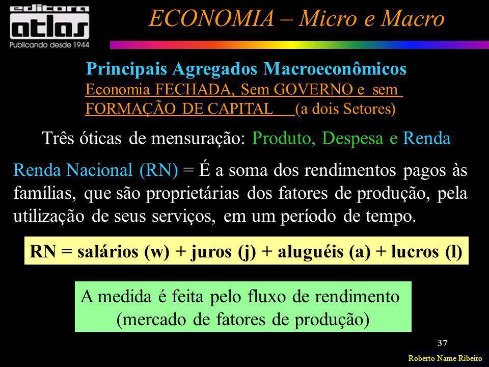 Roberto Name Ribeiro ECONOMIA – Micro e Macro 37 Três óticas de mensuração: Produto, Despesa e Renda Renda Nacional (RN) = É a soma dos rendimentos pa