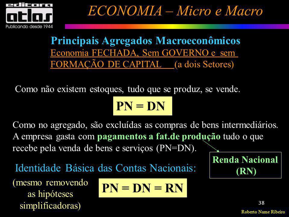 Roberto Name Ribeiro ECONOMIA – Micro e Macro 38 Principais Agregados Macroeconômicos Identidade Básica das Contas Nacionais: PN = DN = RN Como não ex