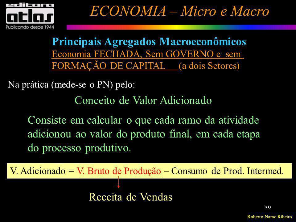Roberto Name Ribeiro ECONOMIA – Micro e Macro 39 Principais Agregados Macroeconômicos Conceito de Valor Adicionado V. Adicionado = V. Bruto de Produçã