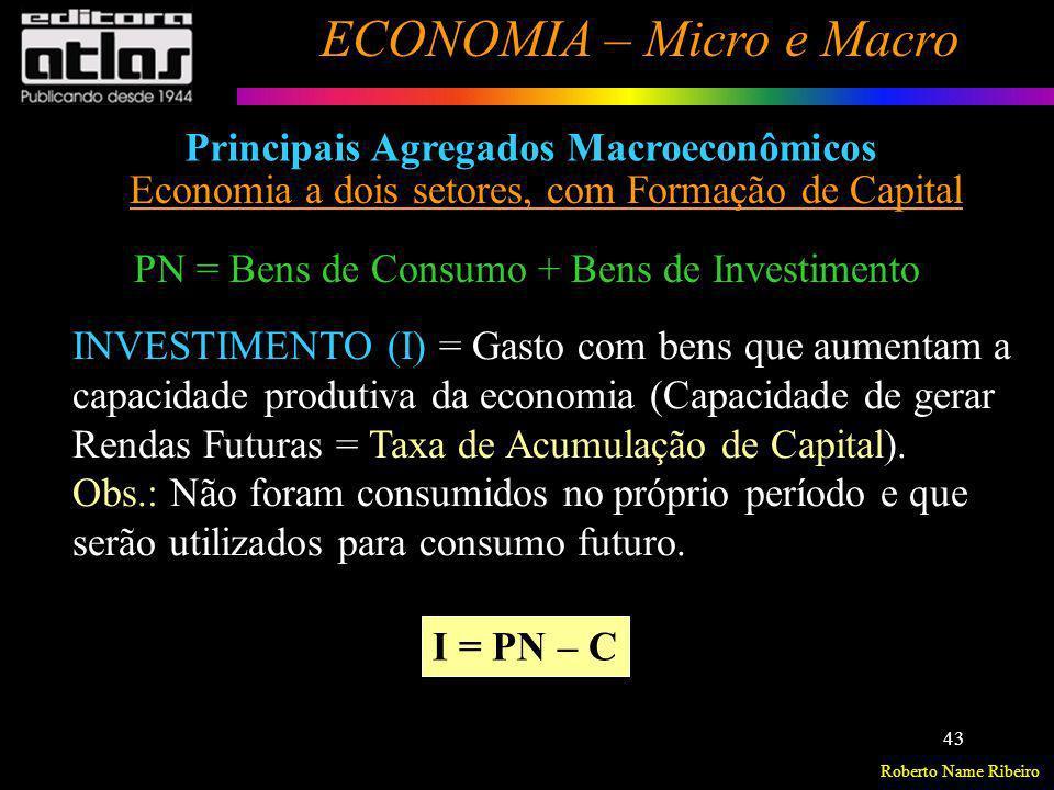 Roberto Name Ribeiro ECONOMIA – Micro e Macro 43 Principais Agregados Macroeconômicos Economia a dois setores, com Formação de Capital INVESTIMENTO (I