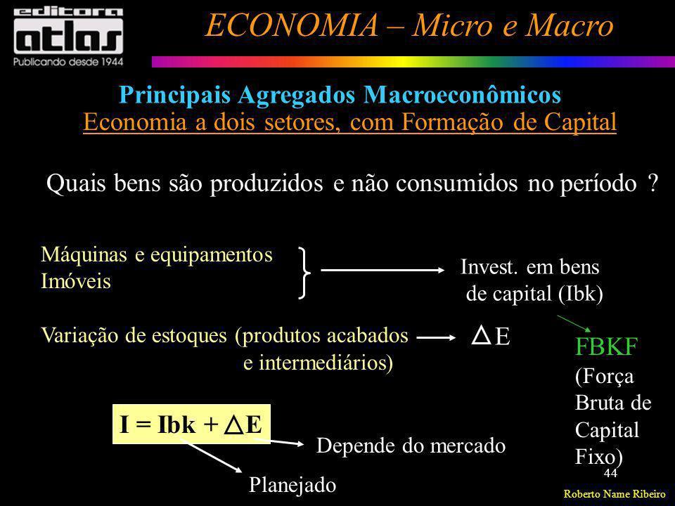 Roberto Name Ribeiro ECONOMIA – Micro e Macro 44 Principais Agregados Macroeconômicos Economia a dois setores, com Formação de Capital Quais bens são