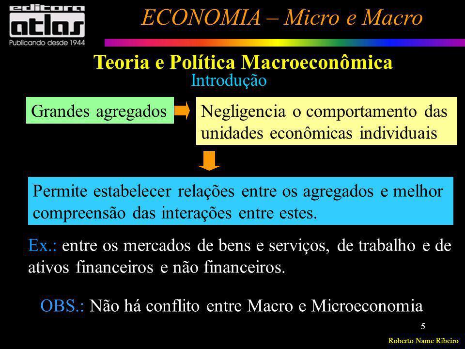Roberto Name Ribeiro ECONOMIA – Micro e Macro 5 Introdução Grandes agregadosNegligencia o comportamento das unidades econômicas individuais Ex.: entre