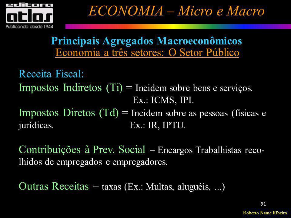 Roberto Name Ribeiro ECONOMIA – Micro e Macro 51 Principais Agregados Macroeconômicos Economia a três setores: O Setor Público Receita Fiscal: Imposto