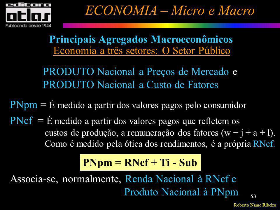 Roberto Name Ribeiro ECONOMIA – Micro e Macro 53 Principais Agregados Macroeconômicos Economia a três setores: O Setor Público PRODUTO Nacional a Preç
