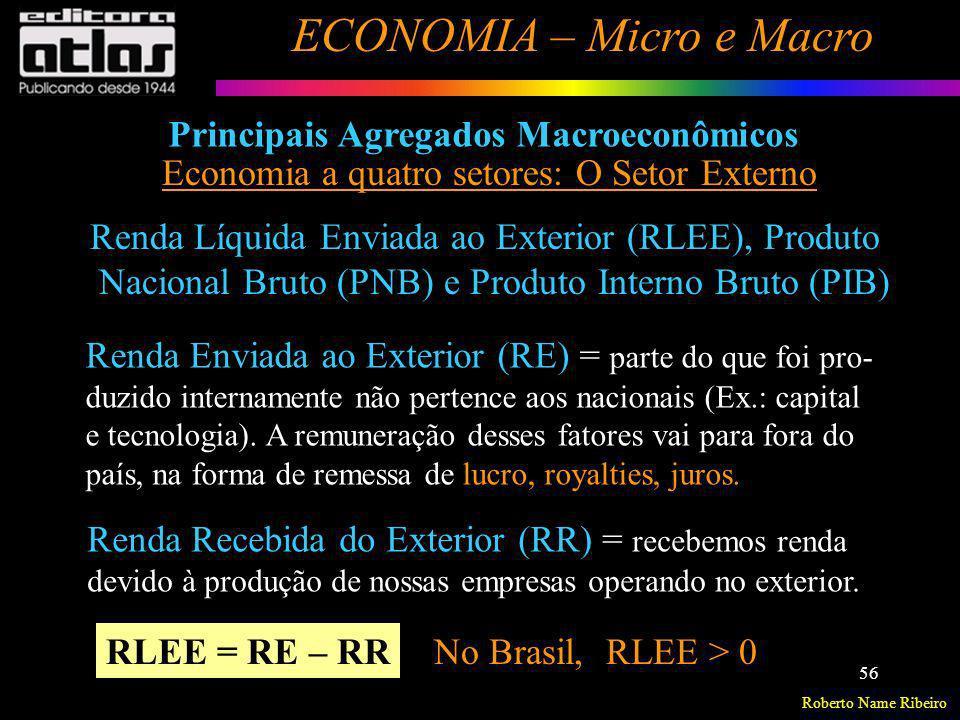 Roberto Name Ribeiro ECONOMIA – Micro e Macro 56 Principais Agregados Macroeconômicos Economia a quatro setores: O Setor Externo Renda Líquida Enviada