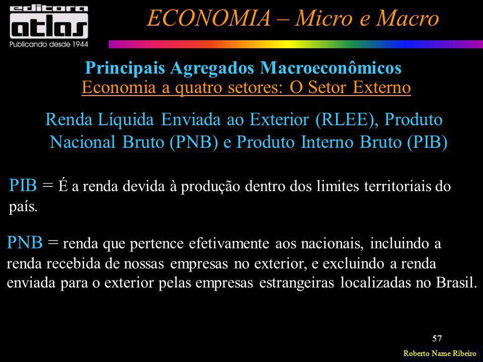 Roberto Name Ribeiro ECONOMIA – Micro e Macro 57 Principais Agregados Macroeconômicos Economia a quatro setores: O Setor Externo Renda Líquida Enviada