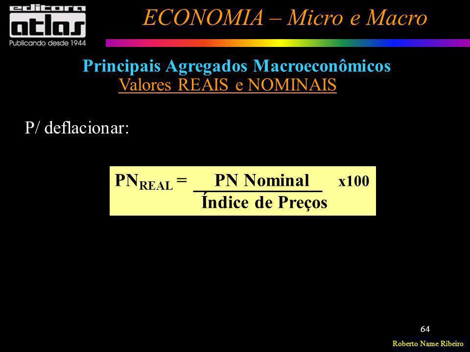 Roberto Name Ribeiro ECONOMIA – Micro e Macro 64 Principais Agregados Macroeconômicos Valores REAIS e NOMINAIS PN REAL = PN Nominal x100 Índice de Pre
