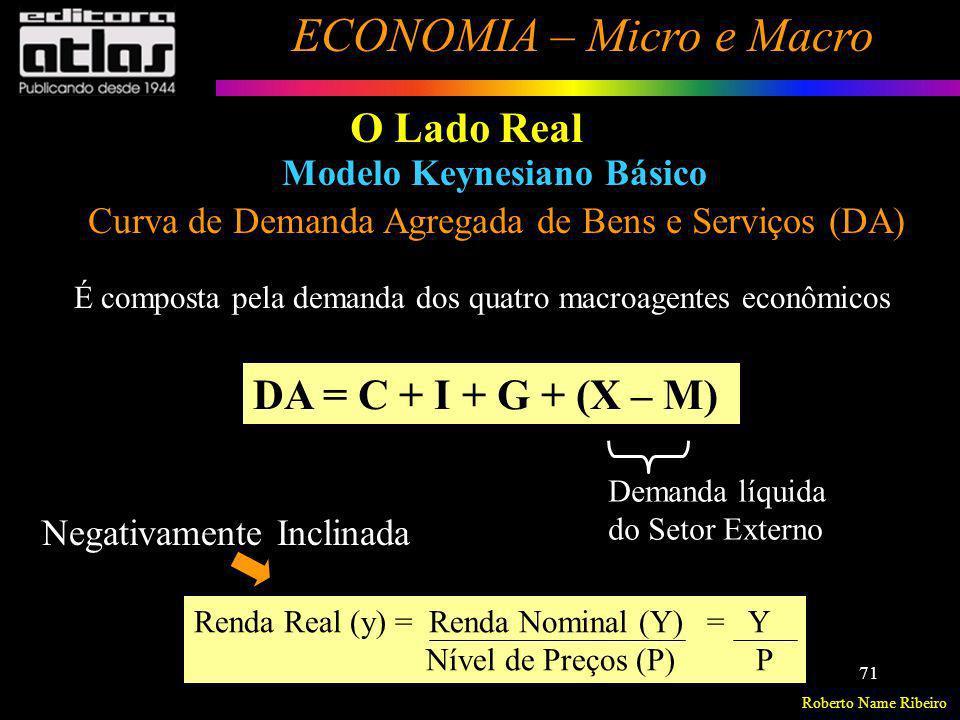 Roberto Name Ribeiro ECONOMIA – Micro e Macro 71 O Lado Real Modelo Keynesiano Básico Curva de Demanda Agregada de Bens e Serviços (DA) É composta pel