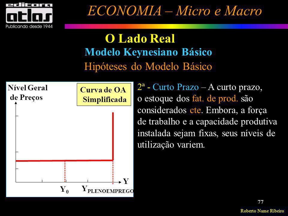 Roberto Name Ribeiro ECONOMIA – Micro e Macro 77 O Lado Real Modelo Keynesiano Básico Hipóteses do Modelo Básico 2ª - Curto Prazo – A curto prazo, o e