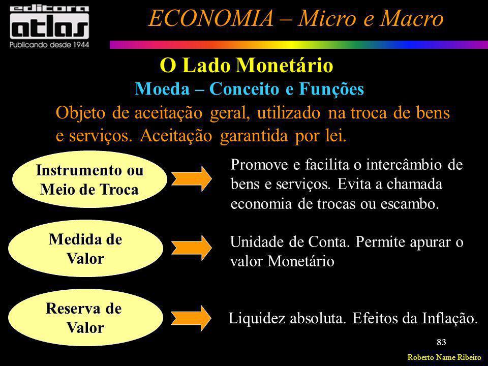 Roberto Name Ribeiro ECONOMIA – Micro e Macro 83 O Lado Monetário Moeda – Conceito e Funções Objeto de aceitação geral, utilizado na troca de bens e s