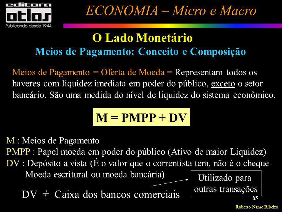 Roberto Name Ribeiro ECONOMIA – Micro e Macro 85 O Lado Monetário Meios de Pagamento: Conceito e Composição Meios de Pagamento = Oferta de Moeda = Rep