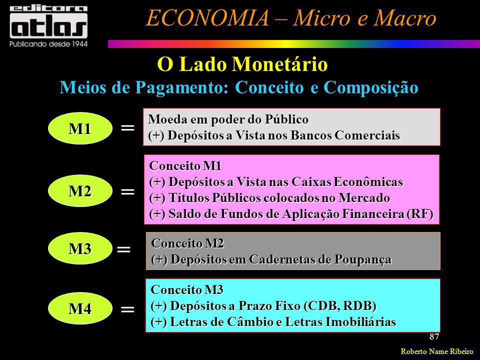 Roberto Name Ribeiro ECONOMIA – Micro e Macro 87 O Lado Monetário Meios de Pagamento: Conceito e Composição M1 M2 M3 M4 = = = = Moeda em poder do Públ
