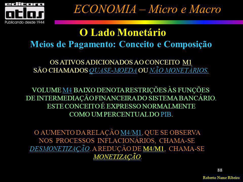 Roberto Name Ribeiro ECONOMIA – Micro e Macro 88 OS ATIVOS ADICIONADOS AO CONCEITO M1 SÃO CHAMADOS QUASE-MOEDA OU NÃO MONETÁRIOS. VOLUME M4 BAIXO DENO