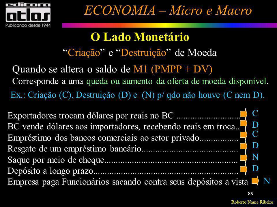 Roberto Name Ribeiro ECONOMIA – Micro e Macro 89 O Lado Monetário Criação e Destruição de Moeda Quando se altera o saldo de M1 (PMPP + DV) Corresponde