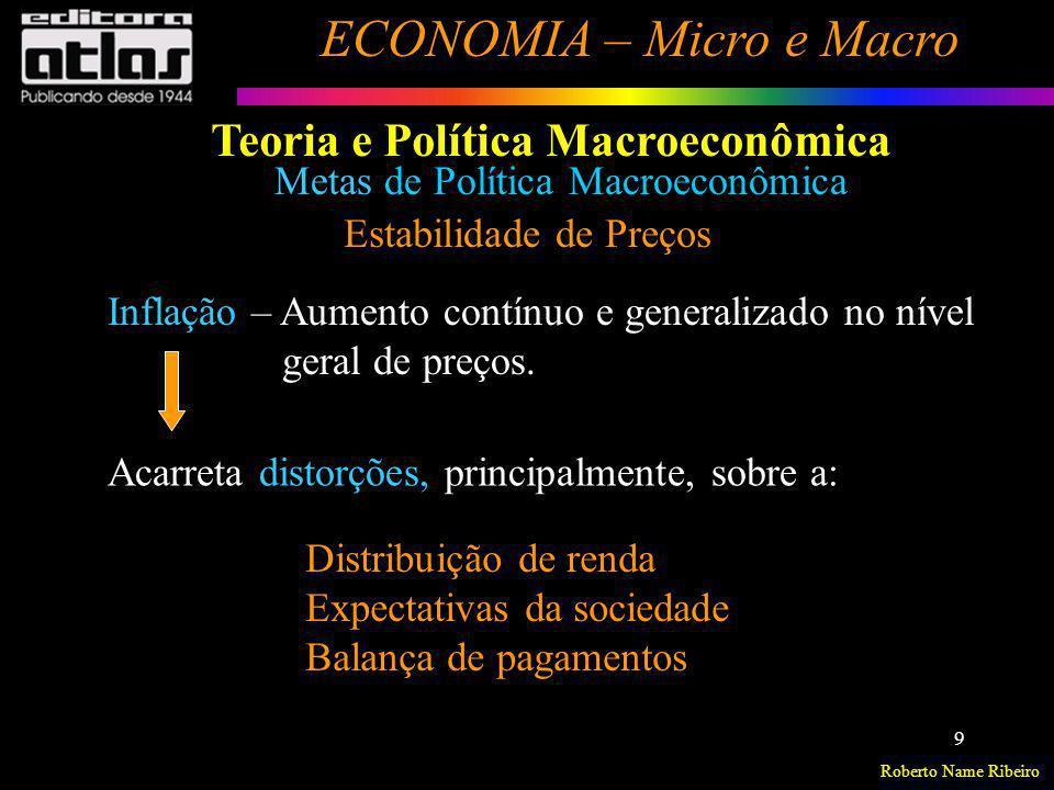 Roberto Name Ribeiro ECONOMIA – Micro e Macro 9 Metas de Política Macroeconômica Estabilidade de Preços Inflação – Aumento contínuo e generalizado no