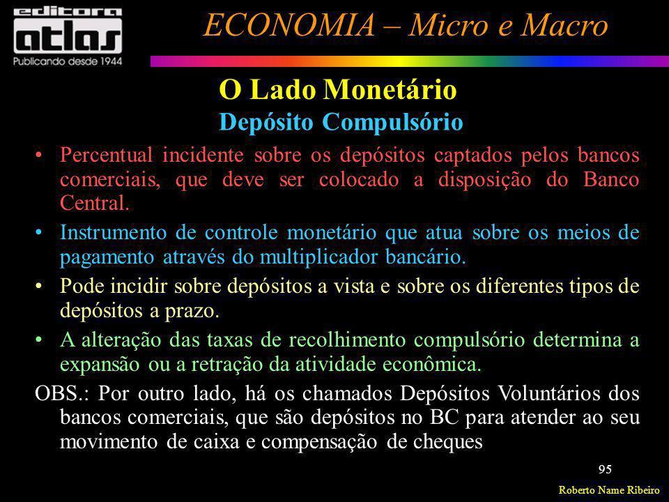 Roberto Name Ribeiro ECONOMIA – Micro e Macro 95 O Lado Monetário Depósito Compulsório Percentual incidente sobre os depósitos captados pelos bancos c
