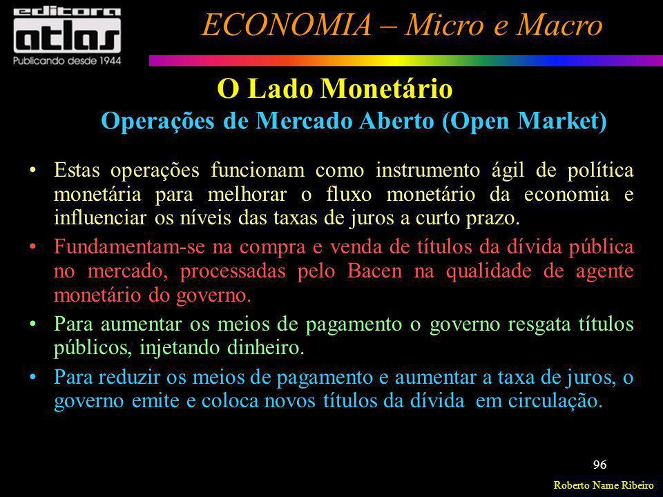 Roberto Name Ribeiro ECONOMIA – Micro e Macro 96 O Lado Monetário Operações de Mercado Aberto (Open Market) Estas operações funcionam como instrumento