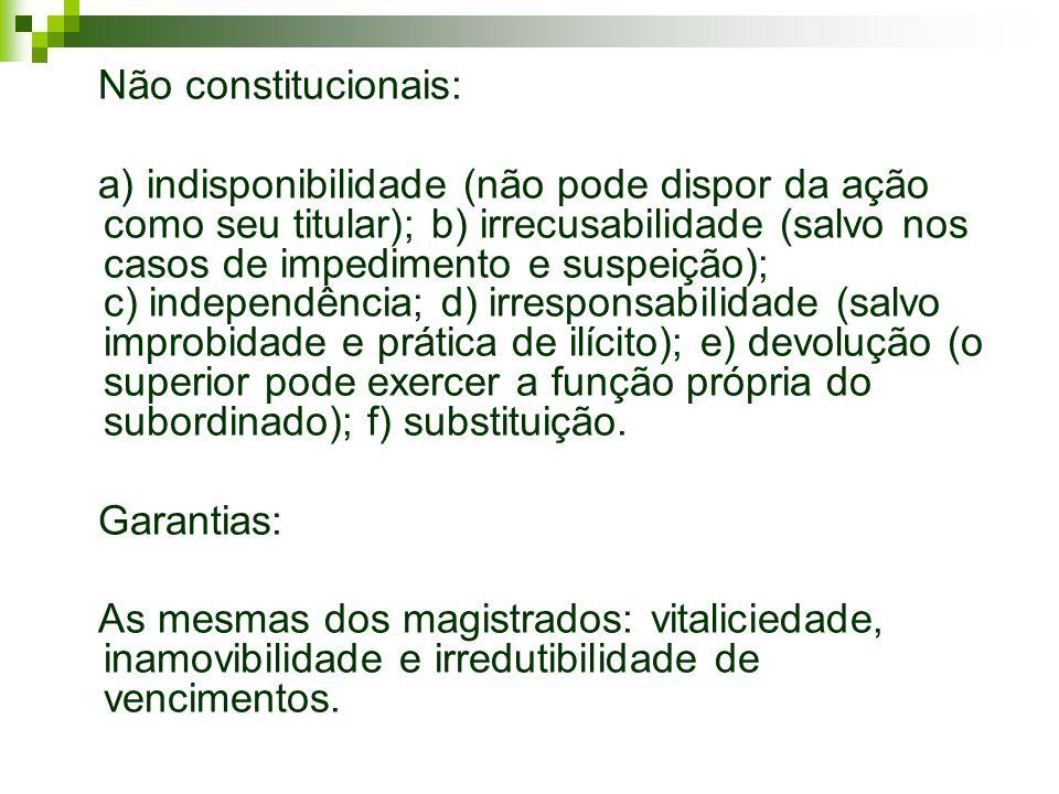 Não constitucionais: a) indisponibilidade (não pode dispor da ação como seu titular); b) irrecusabilidade (salvo nos casos de impedimento e suspeição)