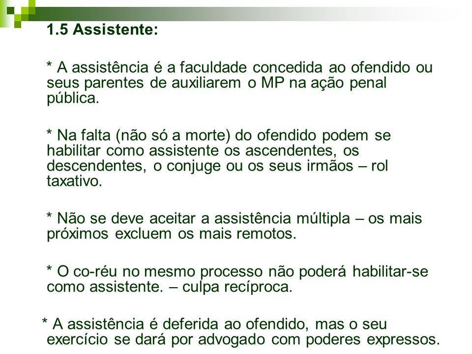 1.5 Assistente: * A assistência é a faculdade concedida ao ofendido ou seus parentes de auxiliarem o MP na ação penal pública. * Na falta (não só a mo