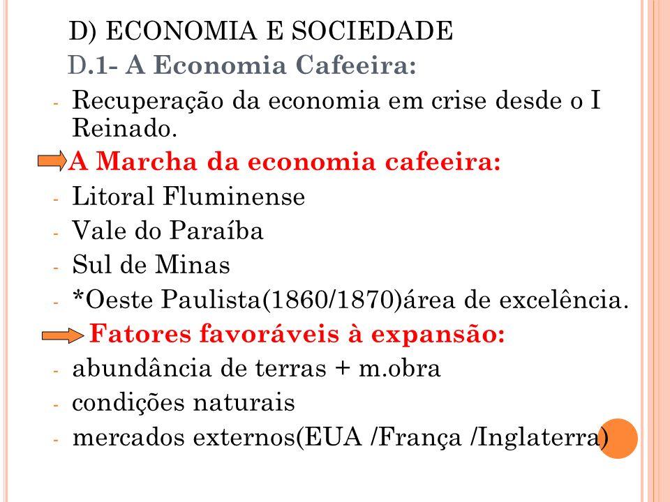 D) ECONOMIA E SOCIEDADE D.1- A Economia Cafeeira: - Recuperação da economia em crise desde o I Reinado. A Marcha da economia cafeeira: - Litoral Flumi