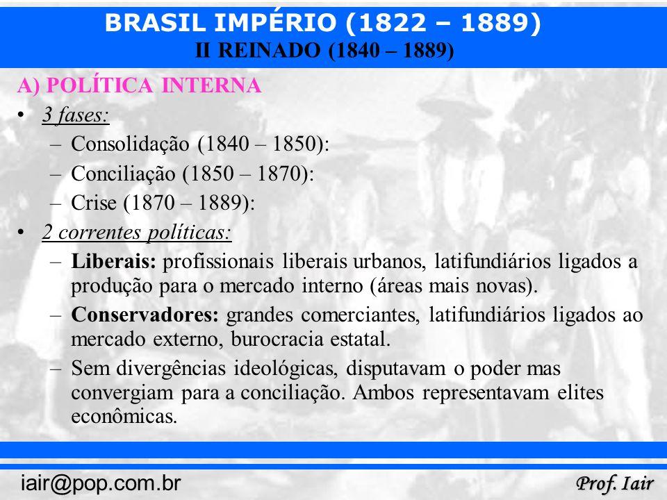 BRASIL IMPÉRIO (1822 – 1889) Prof. Iair iair@pop.com.br II REINADO (1840 – 1889) A) POLÍTICA INTERNA 3 fases: –Consolidação (1840 – 1850): –Conciliaçã