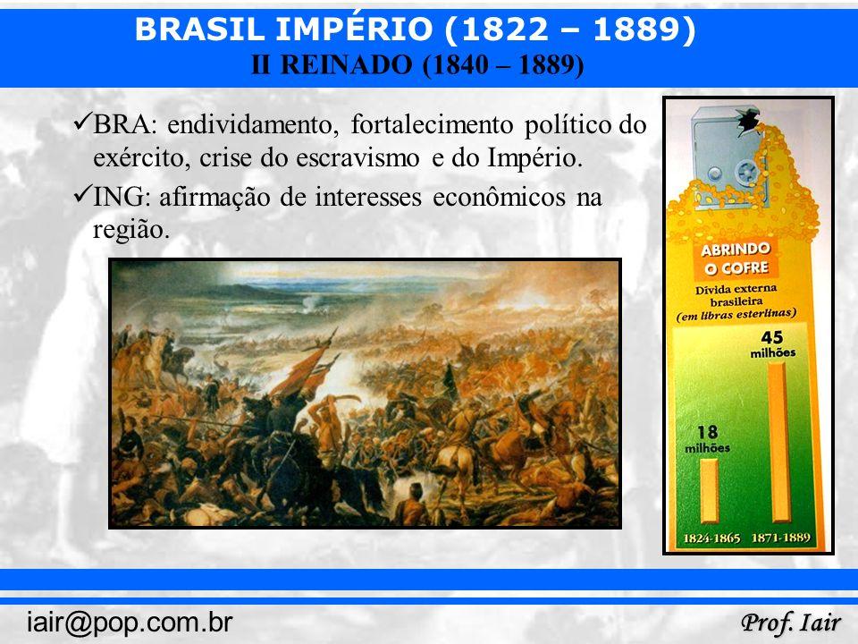 BRASIL IMPÉRIO (1822 – 1889) Prof. Iair iair@pop.com.br II REINADO (1840 – 1889) BRA: endividamento, fortalecimento político do exército, crise do esc