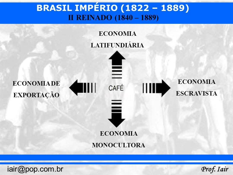 BRASIL IMPÉRIO (1822 – 1889) Prof. Iair iair@pop.com.br II REINADO (1840 – 1889) ECONOMIA DE EXPORTAÇÃO ECONOMIA MONOCULTORA ECONOMIA LATIFUNDIÁRIA EC