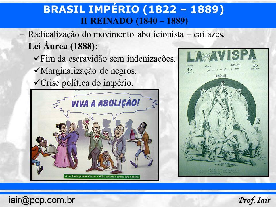 BRASIL IMPÉRIO (1822 – 1889) Prof. Iair iair@pop.com.br II REINADO (1840 – 1889) –Radicalização do movimento abolicionista – caifazes. –Lei Áurea (188