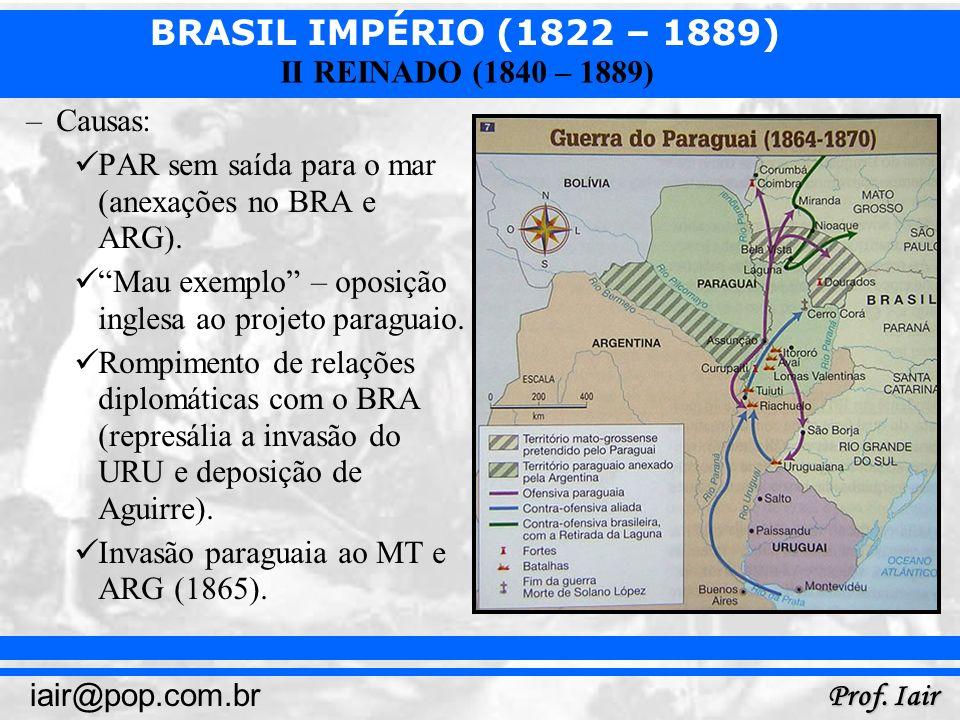 BRASIL IMPÉRIO (1822 – 1889) Prof. Iair iair@pop.com.br II REINADO (1840 – 1889) –Causas: PAR sem saída para o mar (anexações no BRA e ARG). Mau exemp