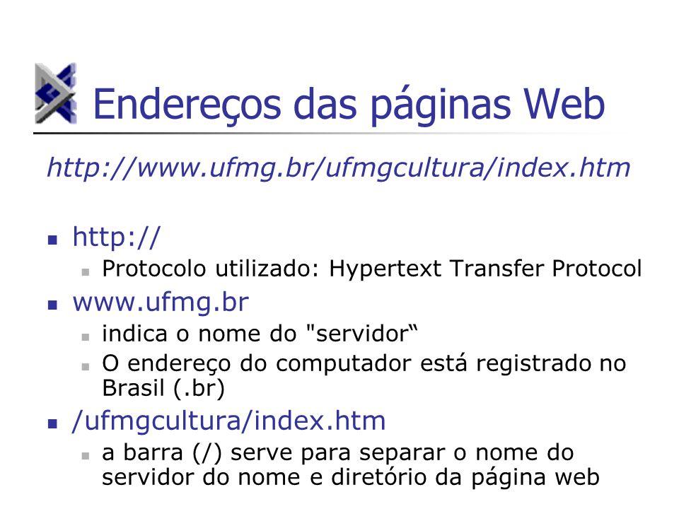 Endereços das páginas Web http://www.ufmg.br/ufmgcultura/index.htm http:// Protocolo utilizado: Hypertext Transfer Protocol www.ufmg.br indica o nome