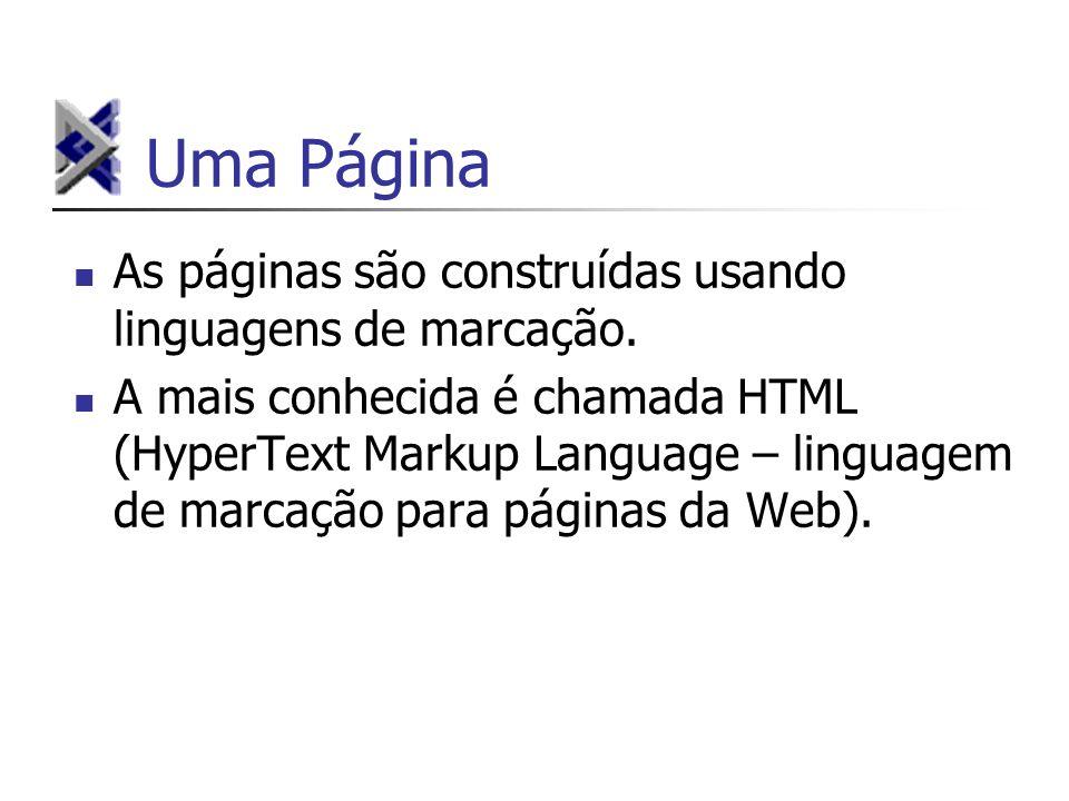 Uma Página As páginas são construídas usando linguagens de marcação. A mais conhecida é chamada HTML (HyperText Markup Language – linguagem de marcaçã