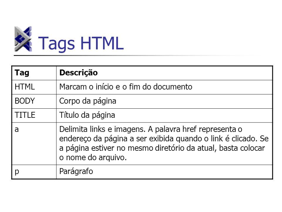 Tags HTML TagDescrição HTMLMarcam o início e o fim do documento BODYCorpo da página TITLETítulo da página aDelimita links e imagens. A palavra href re