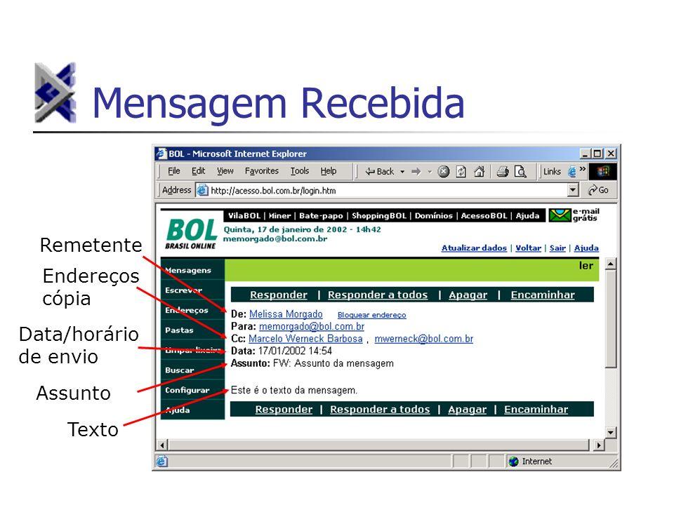 Mensagem Recebida Remetente Data/horário de envio Assunto Texto Endereços cópia