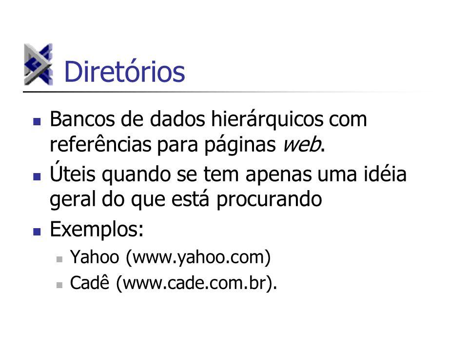 Diretórios Bancos de dados hierárquicos com referências para páginas web. Úteis quando se tem apenas uma idéia geral do que está procurando Exemplos: