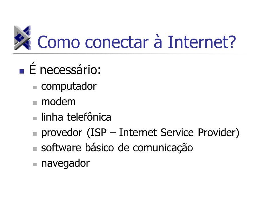 Como conectar à Internet? É necessário: computador modem linha telefônica provedor (ISP – Internet Service Provider) software básico de comunicação na